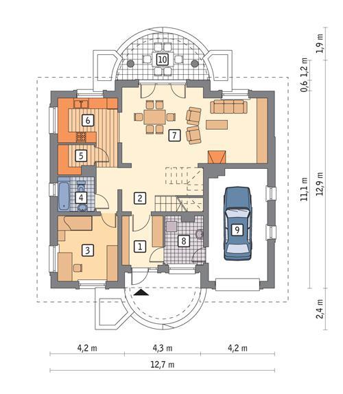 Rzut parteru POW. 104,5 m²