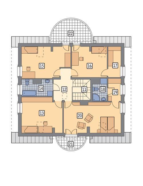Rzut poddasza POW. 129,6 m²