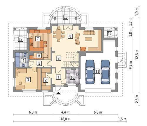 Rzut parteru POW. 142,9 m²