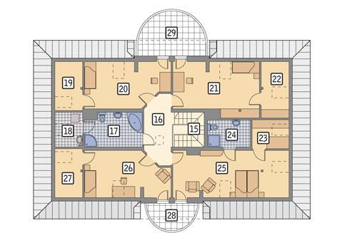 Rzut poddasza POW. 179,0 m²
