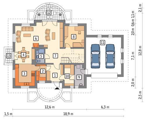 Rzut parteru POW. 145,7 m²