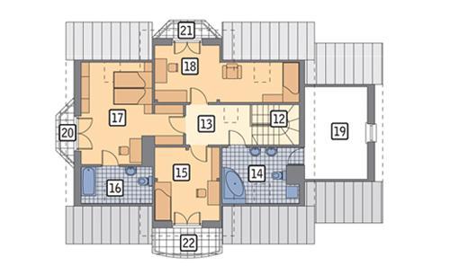 Rzut poddasza POW. 109,7 m²