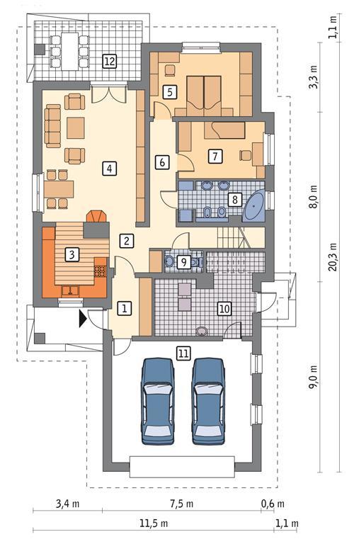 Rzut parteru POW. 146,2 m²