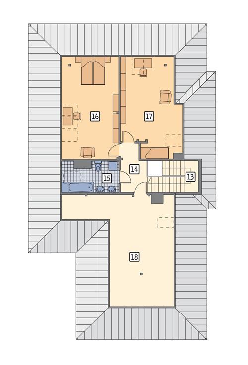 Rzut poddasza POW. 140,0 m²