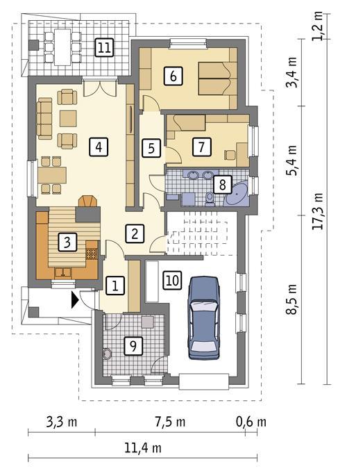 Rzut parteru POW. 126,3 m²