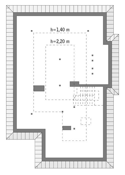 Rzut poddasza: do indywidualnej adaptacji (39,6 m2 powierzchni użytkowej)