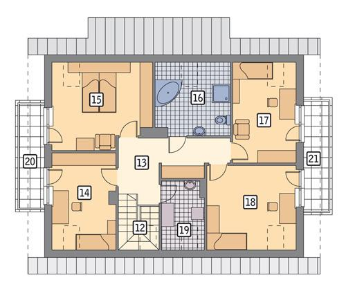 Rzut poddasza POW. 112,5 m²