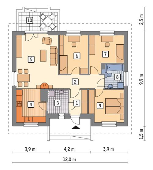Rzut parteru POW. 89,4 m²