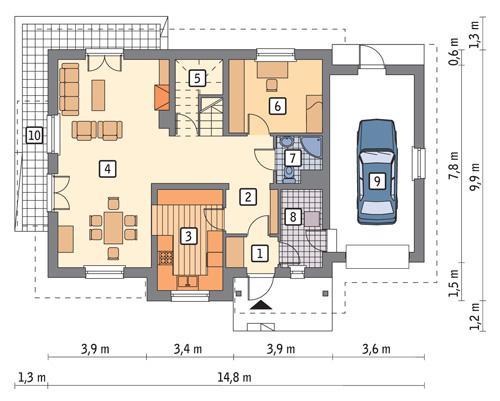 Rzut parteru POW. 99,7 m²