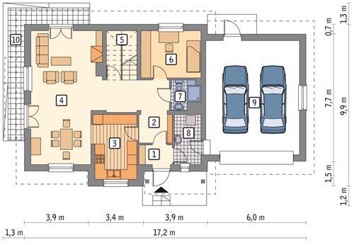 Rzut parteru POW. 115,2 m²