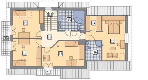 Rzut poddasza POW. 127,3 m²