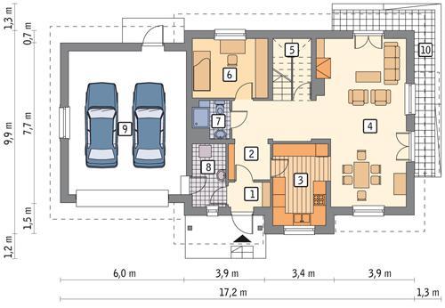 Rzut parteru lustro POW. 115,2 m²