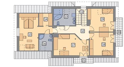 Rzut poddasza lustro POW. 127,3 m²