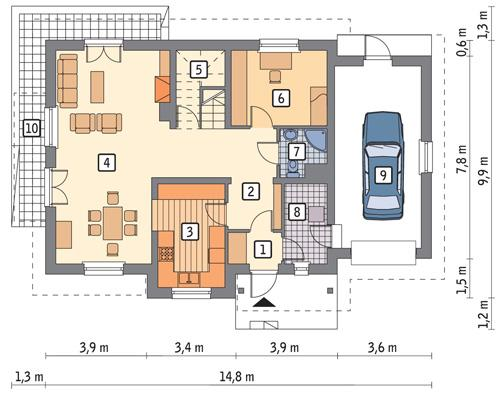 Rzut parteru POW. 101,0 m²