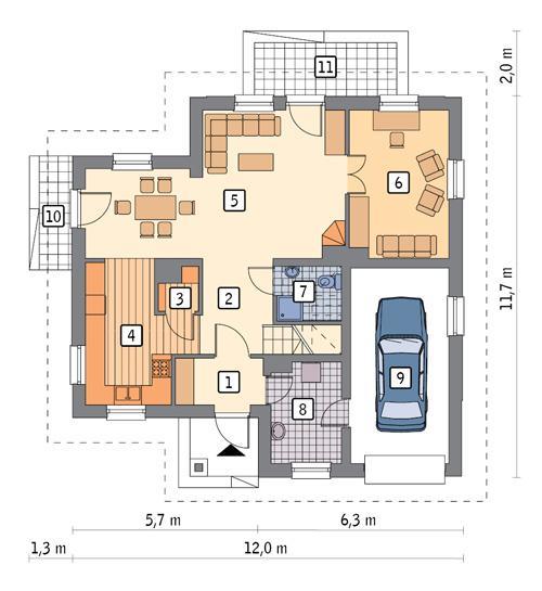 Rzut parteru POW. 91,9 m²