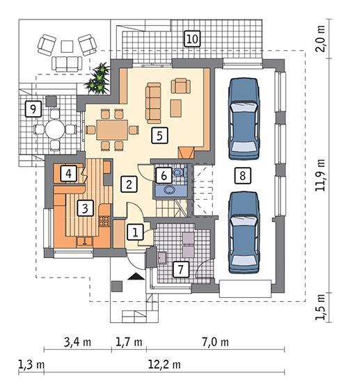 Rzut parteru: Wersja podstawowa POW. 90,1 m²