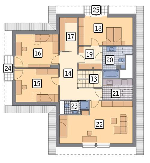 Rzut poddasza POW. 134,2 m²