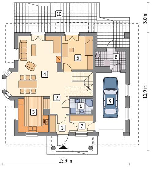 Rzut parteru POW. 92,8 m²