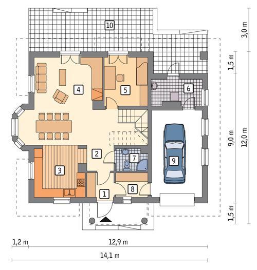 Rzut parteru POW. 102,9 m²