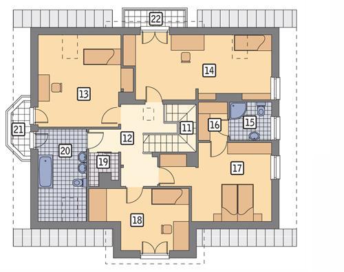 Rzut poddasza POW. 119,6 m²