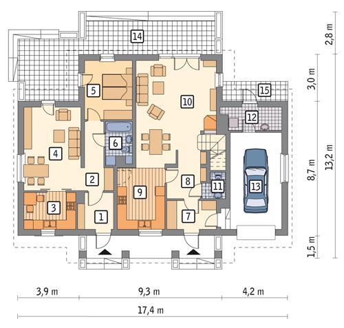 Rzut parteru: wersja podstawowa POW. 136,8 m²