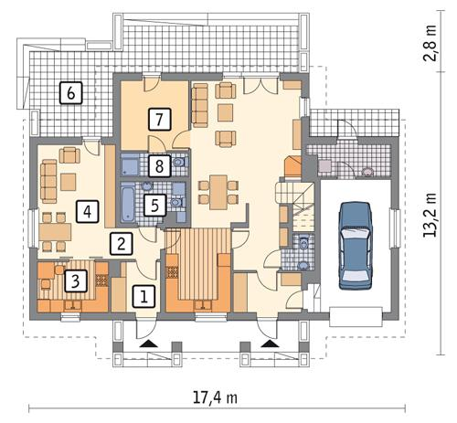 Rzut parteru: wariant 1 POW. 56,2 m²
