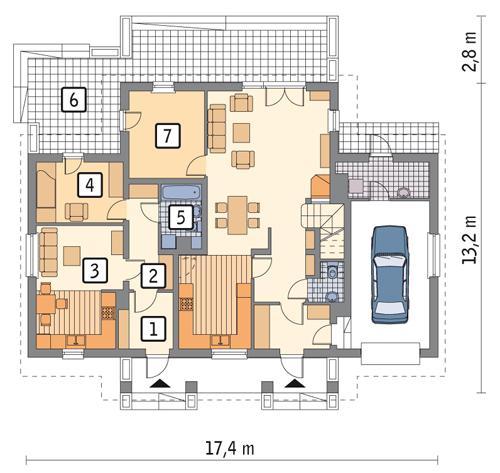 Rzut parteru: wariant 2 POW. 53,8 m²
