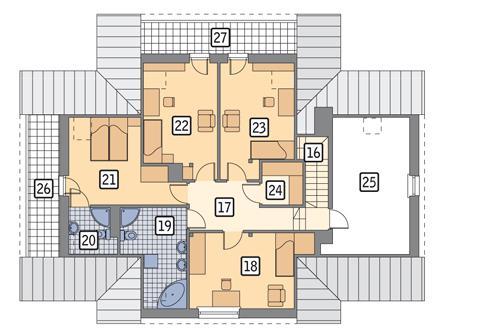 Rzut poddasza: wersja podstawowa POW. 144,1 m²