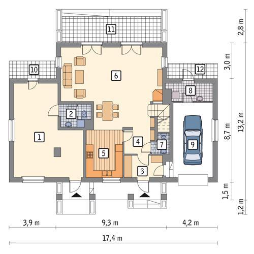 Rzut parteru: wersja podstawowa POW. 139,2 m²