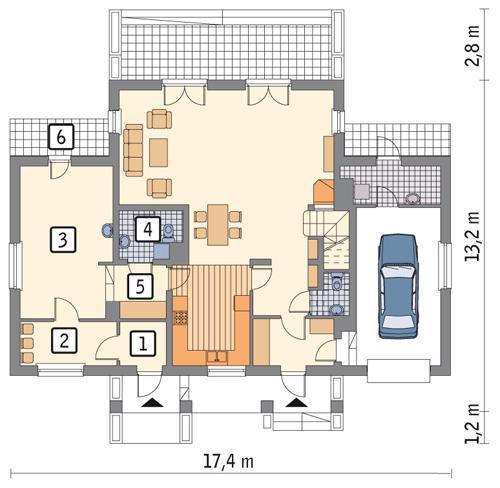 Rzut parteru: wariant 1 POW. 39,4 m²