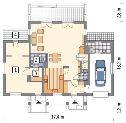 Rzut parteru: wariant 2 POW. 39,4 m²