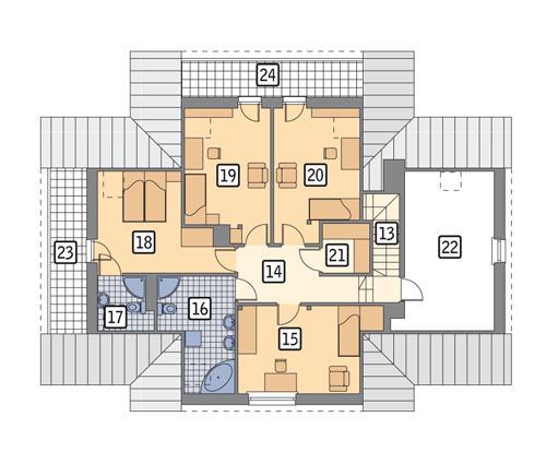 Rzut poddasza: wersja podstawowa POW. 143,9 m²