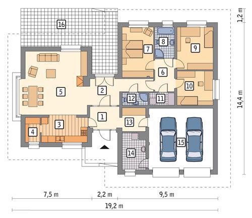 Rzut parteru POW. 161,8 m²