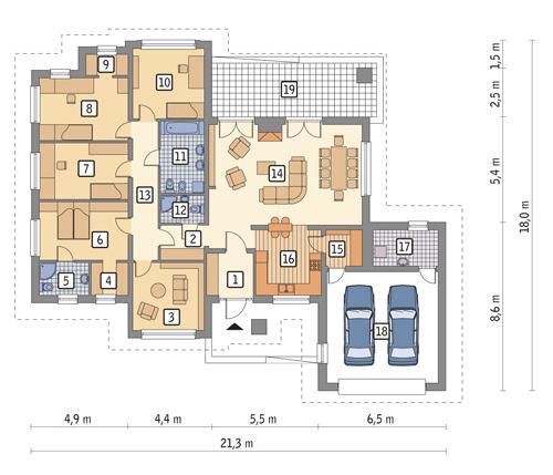 Rzut parteru POW. 200,4 m²