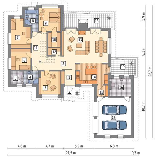 Rzut parteru POW. 218,6 m²