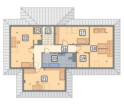 Rzut poddasza POW. 125,4 m²