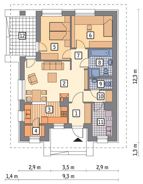 Rzut parteru POW. 72,2 m²
