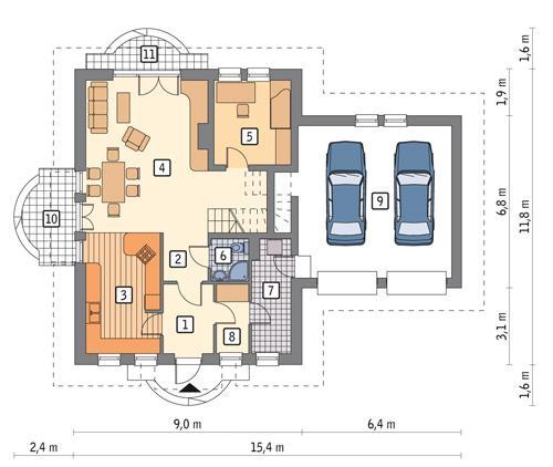 Rzut parteru POW. 114,9 m²