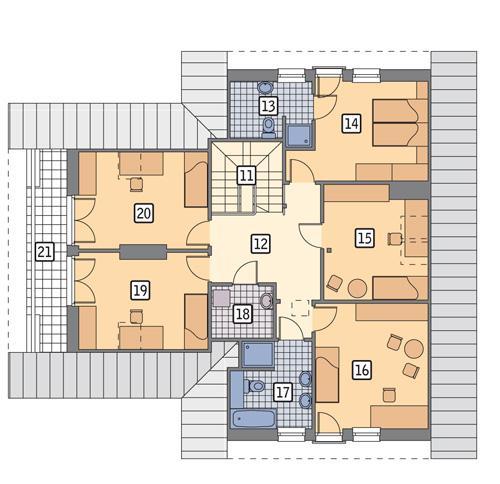 Rzut poddasza POW. 118,0 m²