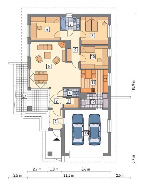 Rzut parteru POW. 141,7 m²