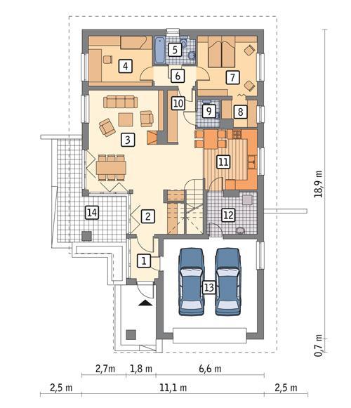 Rzut parteru POW. 138,9 m²