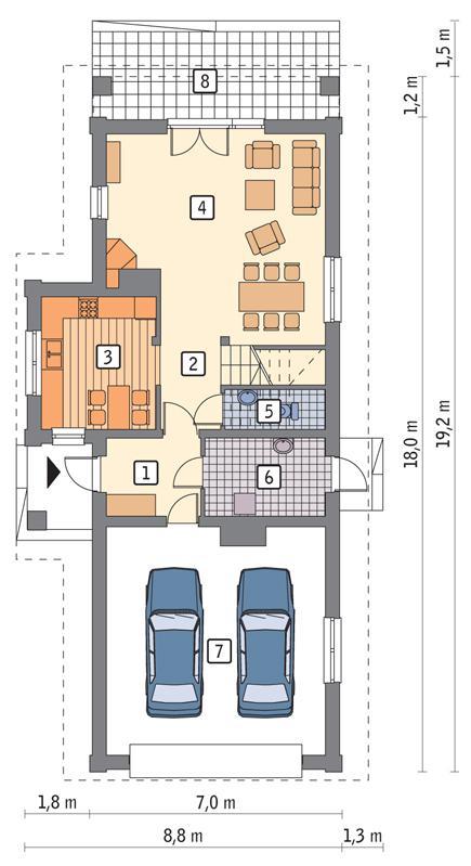 Rzut parteru POW. 100,0 m²