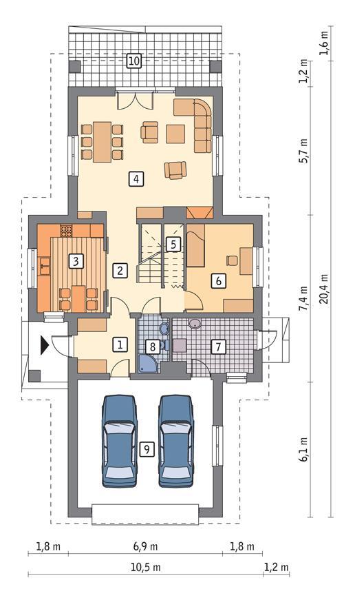 Rzut parteru POW. 117,5 m²