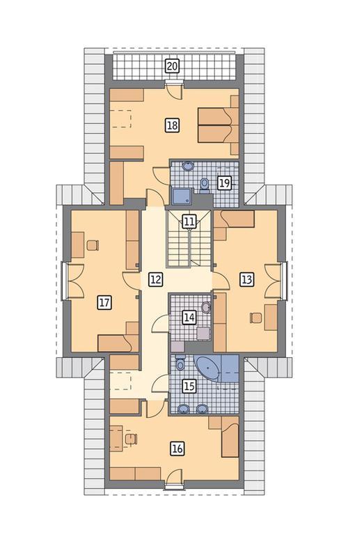 Rzut poddasza POW. 132,3 m²
