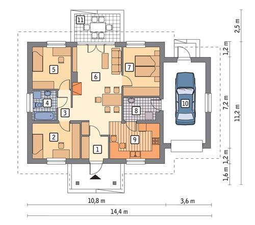 Rzut parteru POW. 101,1 m²