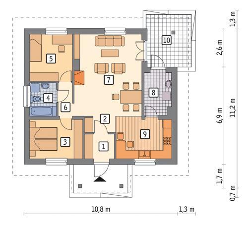 Rzut parteru POW. 77,1 m²