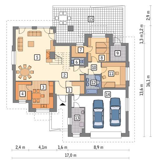 Rzut parteru: wersja podstawowa POW. 165,5 m²