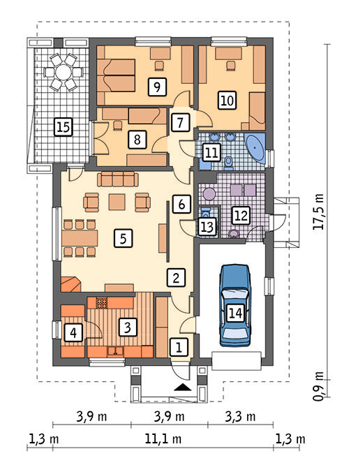 Rzut parteru POW. 134,8 m²