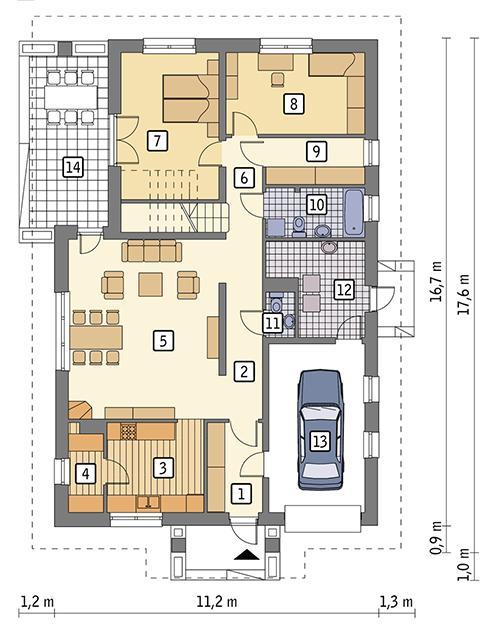 Rzut parteru POW. 131,7 m²