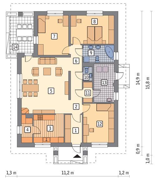 Rzut parteru POW. 122,5 m²